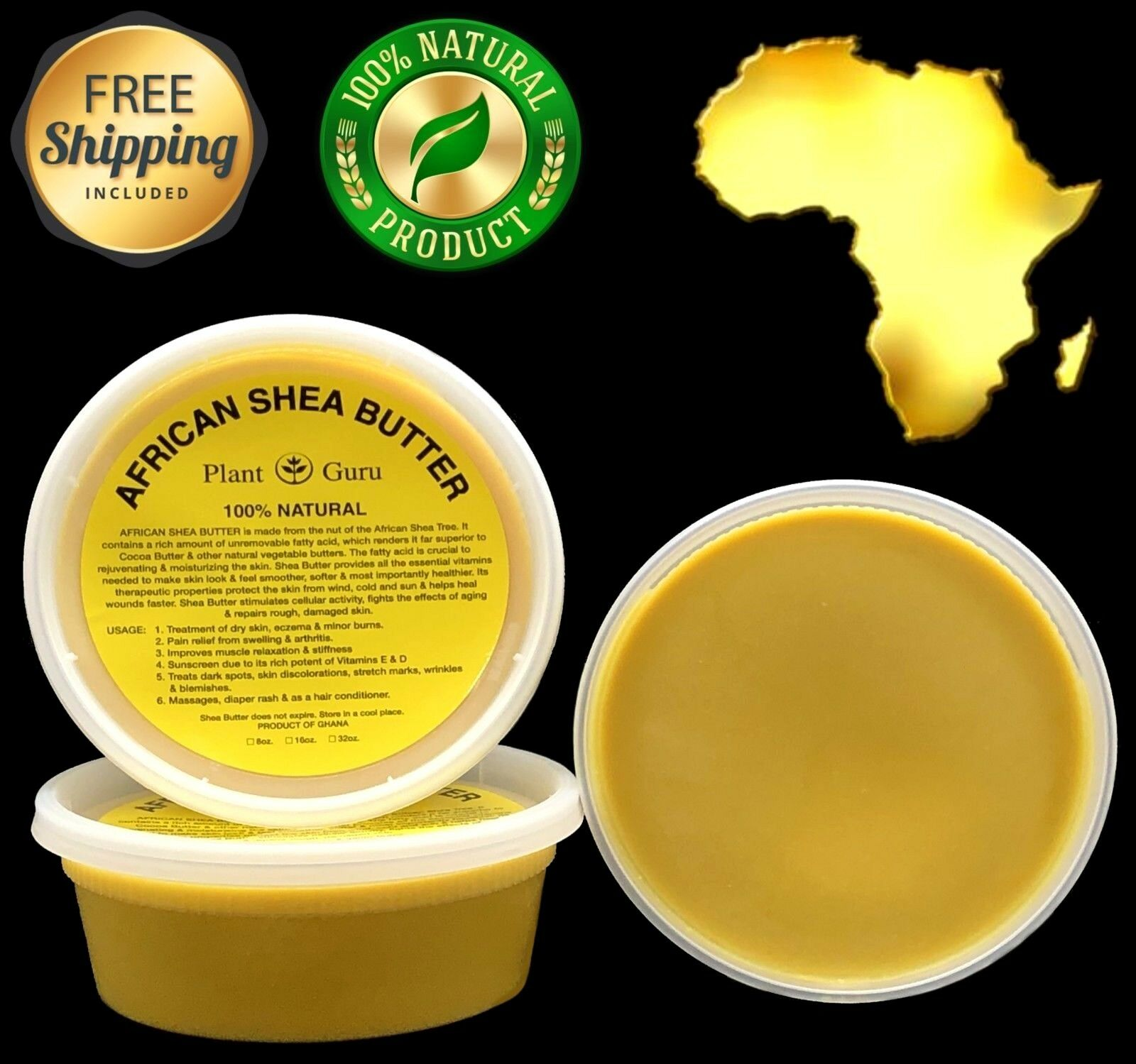 Raw African Shea Butter YELLOW 8 oz Unrefined Pure Organic 1