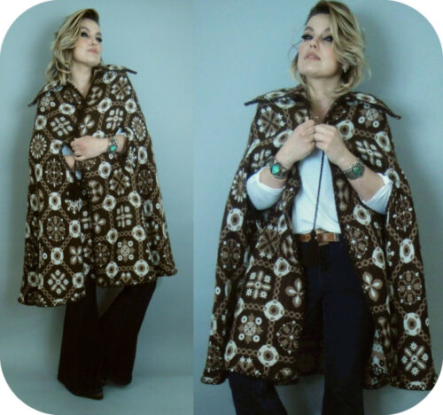 Vintage 70s Knit Poncho Cape Boho Southwest Indian Aztec One Size Hippy