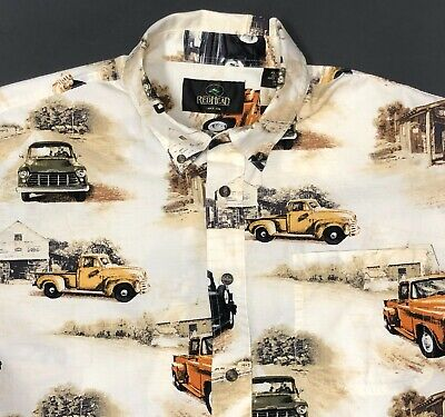 1940s Men's Shirts, Sweaters, Vests Redhead Mens XL Shirt Vintage 1940s 50s Trucks Service Station Gas Pump Cotton $21.59 AT vintagedancer.com