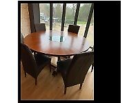 Circular Dining Table with 6 Leather Chairs