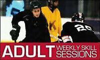 Coed adult ice hockey skills sessions