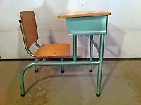 Metal and Wood School Desk [ Adult Size] Excellent Condition.