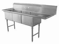 "3 Compartment Sink with 1 Right 18"" Drain Board NSF"