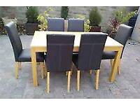 Dining table & 6 faux leather chairs