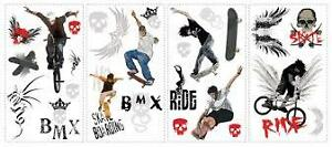 SKATEBOARDING PEEL & STICK REUSABLE WALL ACCENTS
