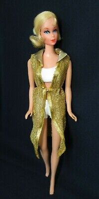 Vintage TALKING BARBIE Doll 1115 Nape Curl - Blonde Hair White Swimsuit Cover-Up