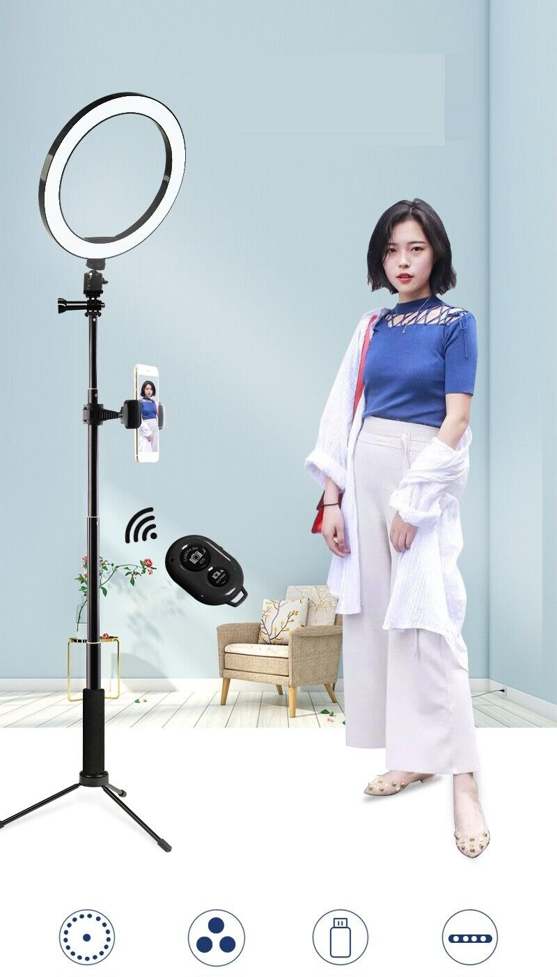 10″ LED Ring Light w/Selfie Stick & Tripod Stand Kit for Phone Video Live Stream Cameras & Photo