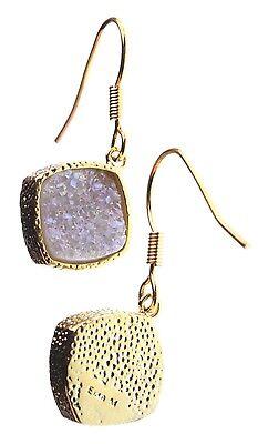 Elise M 18K Gold Plated Pink Druzy Dangle Drop Shepherds Hook Earrings NWT