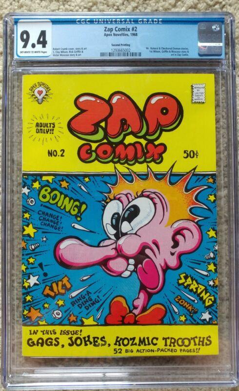 ZAP COMIX #2 2nd print CGC 9.4 NM 1968, Apex Novelties