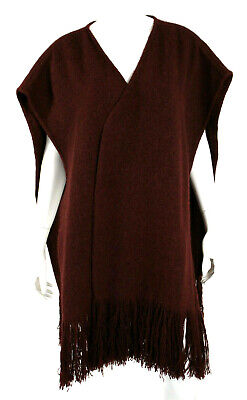 DENIS COLOMB Maroon Mongolian Camel Hair Fringe Trim Shawl Cape M