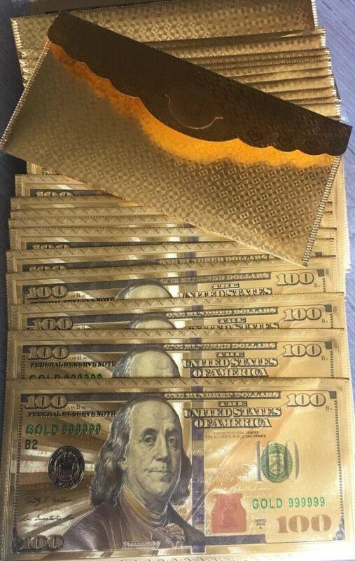 25 PIECES ENVELOPES GOLD FOIL PLATED $100 GOLD DOLLAR BILL ENVELOPE BANKNOTE