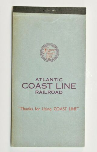 ATLANTIC COAST LINE Railroad Train Stationery Paper VINTAGE Thank you Note Pad