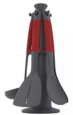 Joseph Joseph Elevate Carousel Utensil Set, Red, Set of 6. NEW 10128