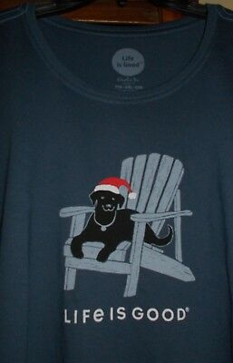 NWT Life is Good Women's XXL Navy Blue Holiday Puppy in Santa Hat L/S T-Shirt  Casual Hats Womens Clothing