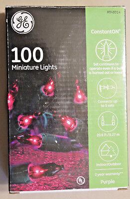 100 COUNT PURPLE MINI CHRISTMAS / WEDDING / EASTER LIGHTS on green wire - 100 Purple Lights Green Wire