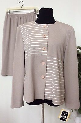 NWT Leslie Fay Women's Taupe Ivory 100% Polyester 2 Piece Skirt Suit Size 14P.