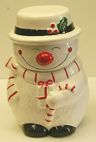 Snowman Earthenware Cookie Jar Candy Cane Top Hat Christmas Holiday Xmas Decor