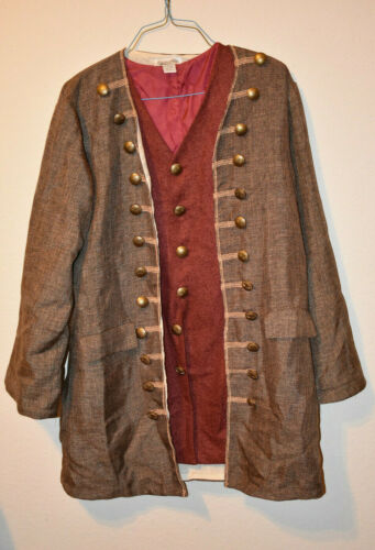 NEW MENS XL COLONIAL CAPTAIN  PATRIOT LONG JACKET & VEST TOP QUALITY COSTUME