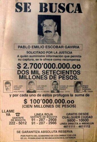 PABLO ESCOBAR DEA WANTED POSTER 8.5 X11 PHOTO REPRINT COLOMBIAN CARTEL SE BUSCA