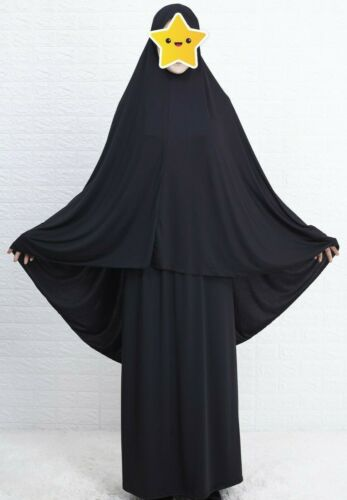 Poly Black 2 Piece Muslim Women Prayer Dress Isdal Outfit Cover Islamic clothing
