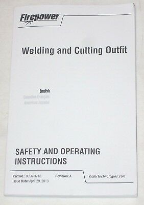 Victor Firepower 0056-3718 Welding Cutting Outfit Safety Instructions 42913