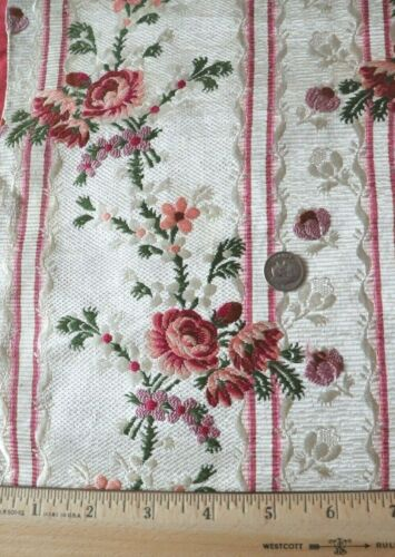 Antique French 18thC Silk Brocade Floral Stripe Museum Deaccession Fabric~20X12