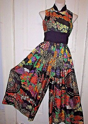 Vtg 60-70s MOD PoP ArT Psychedelic Palazzo Party Cocktail Romper Jumper Dress