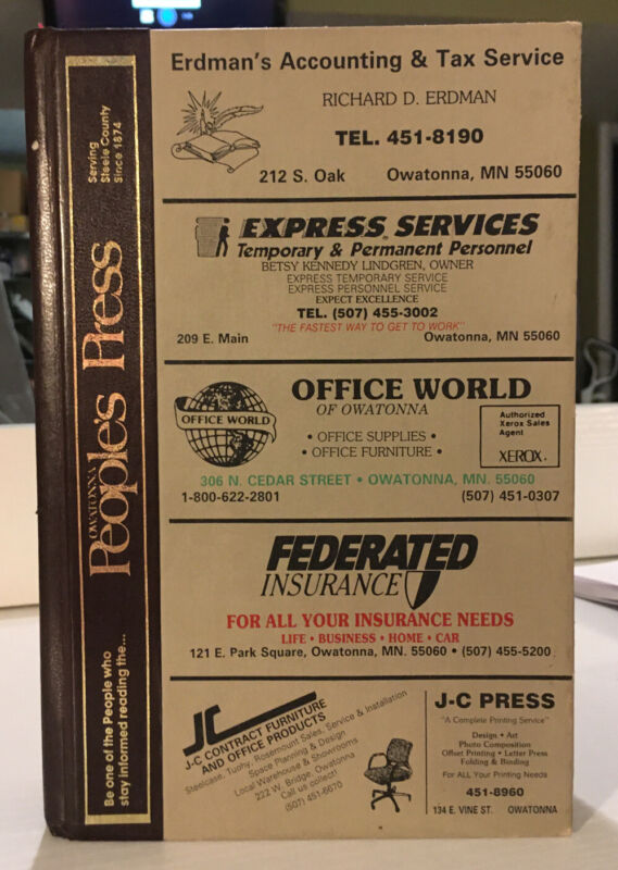 1989 OWATONNA CITY DIRECTORY Minnesota Vintage Advertising Steele County