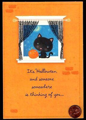Halloween Black Cat Kitten Window Pumpkin Moon GLITTERED  - Greeting Card - NEW - Black Kitten Halloween