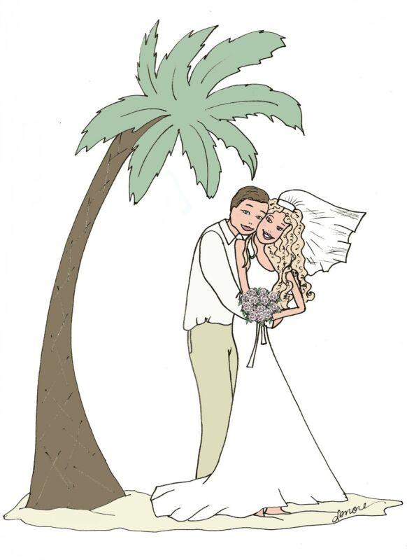 tropical wedding couple palm tree beach cards bridal