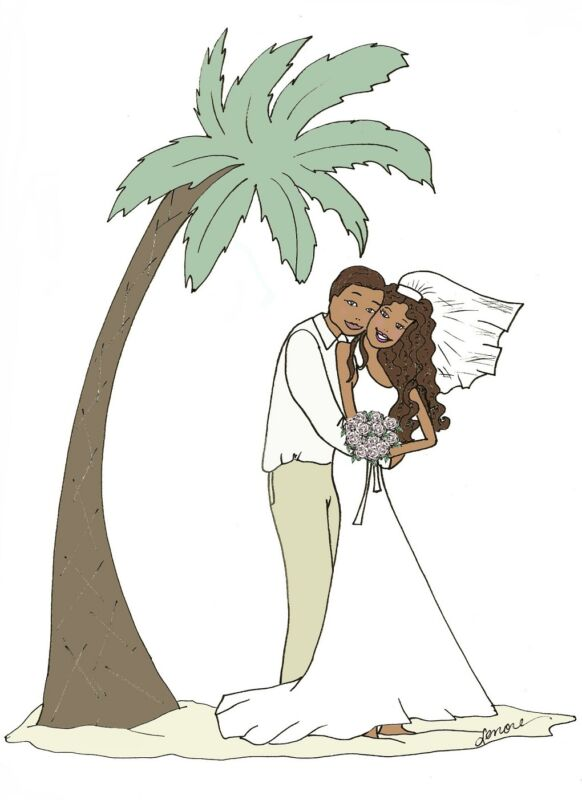 tropical wedding African American palm tree cards
