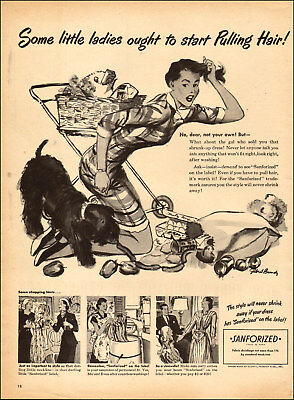 1948 vintage AD SANFORIZED Non Shrink Fabrics , Art by Gilbert Bundy  121817