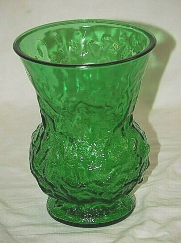 Vintage EO Brody Floral Vase Flared Texture Emerald Green Glass Cleveland O USA