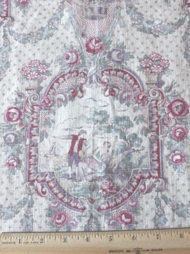 "Antique Vintage c1920 French Muted Blues & Roses Romantic Linen Toile~19"" X 30"""