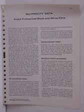Kodak Tech Data 1970-71 Reciprocity Data Prof Black White