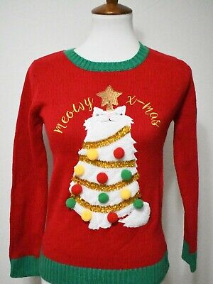 Ugly Christmas Sweater white Persian Cat Silly New NWT L](Ugly Christmas Sweater Women)