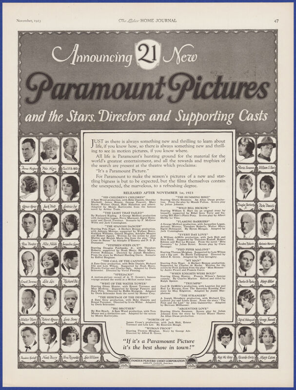 Vintage 1923 PARAMOUNT PICTURES 21 Silent Movies & Stars Ephemera 20