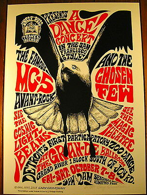 MC5 WHITE & BLACK PANTHERS JOHN SINCLAIR SEAGULL POSTER SIGNED GRIMSHAW 1966