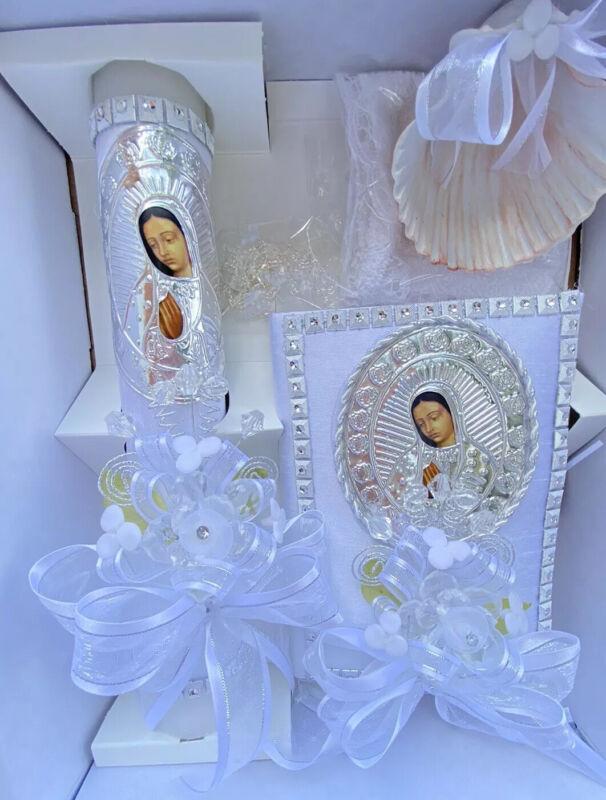 5pcs Baptism Candle Set Favors, Girl Boy White Set de Bautizo Nina Nino ENGLISH