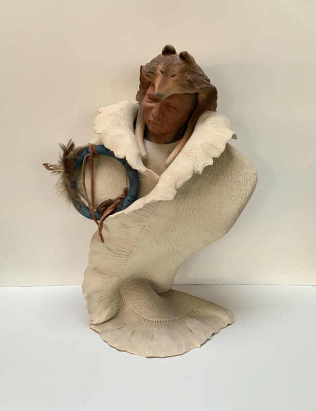 Native American Indian Warrior Chief Bust Sculpture Statue Art Pottery Signed