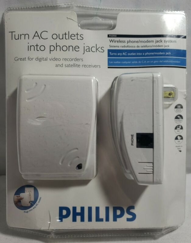Philips Turn AC Outlets Into Phone Jacks Wireless Phone/Modem Jacks Sys. PH0900