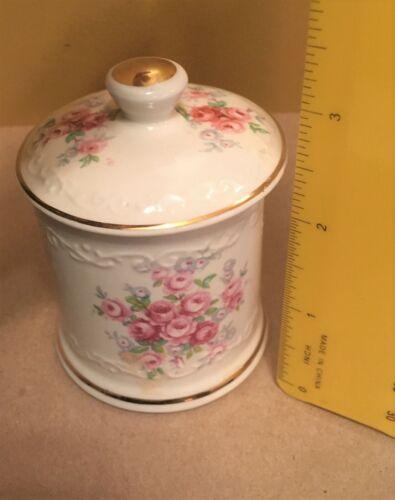 "Vintage Roses Porcelain Dish Small Trinket Box & Lid Cream Crown Devon 3.5"" H"