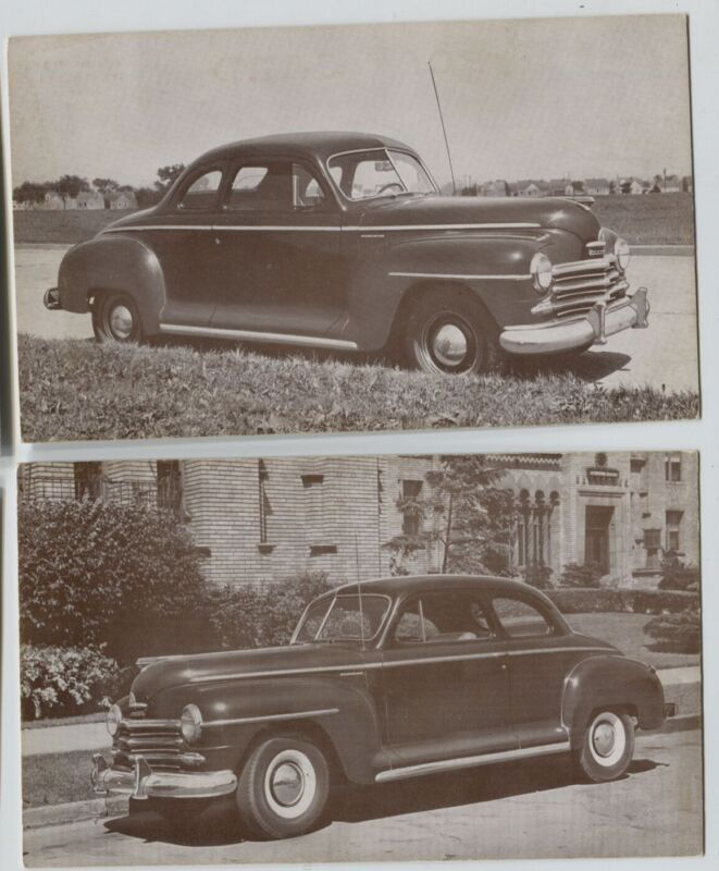2 Vintage 1946 Coupe  Models Plymouth Car Automobile  Postcards