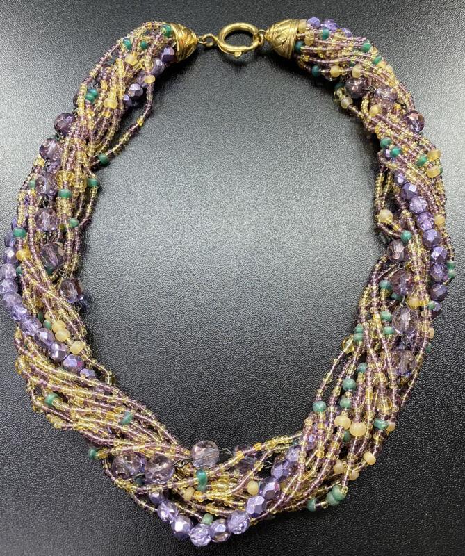 Vtg Purple Glass Bead Multi Strand Torsade Necklace Costume Jewelry