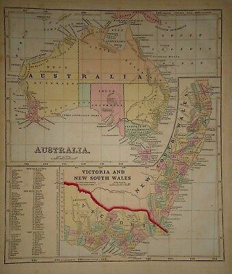 Antique 1856 Hand Colored AUSTRALIA MAP Old Authentic Vintage Atlas Map