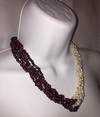 "vint new-old-stock 6 strand nat PEARL  & nat AMETHYST 19"" 'twist' necklace 14k"