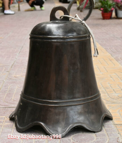 "18"" Old Chinese Buddhism Temple Pure Bronze Bell Bells Gong Tocsin Zhong Statue"