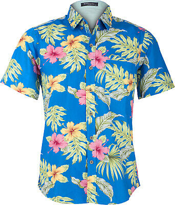 Tropical LIKO Palm Leaf HIBISKUS Palmenblätter Retro Shirt HAWAIIHEMD Rockabilly