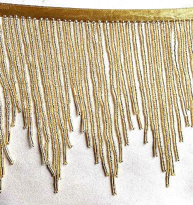 "Beautiful Striking Gold 4"" glass beaded fringe trim  #456"
