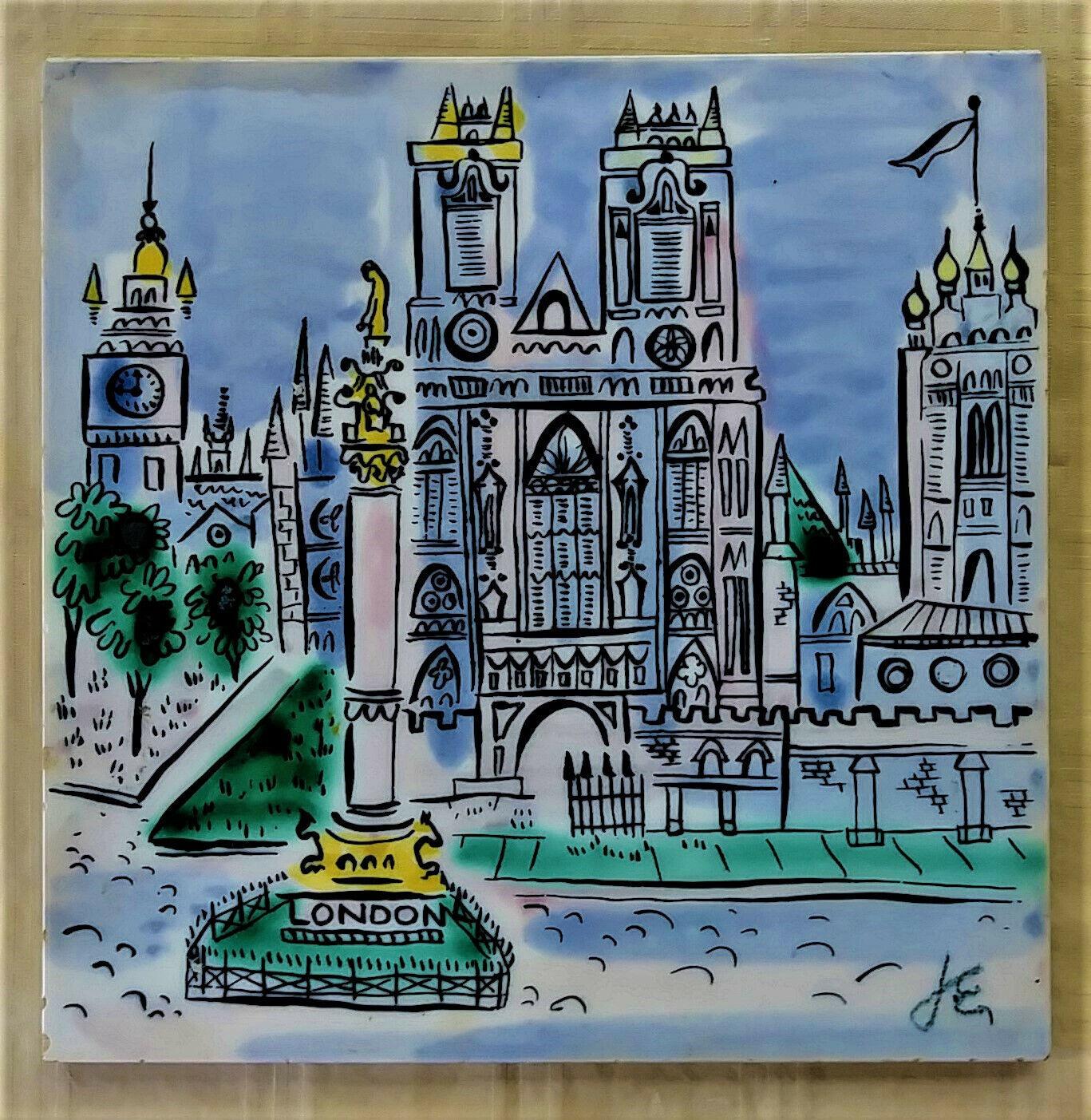 Vintage Wheeling Ceramic Tile Hand Painted London Scene, Signed JE - $14.00